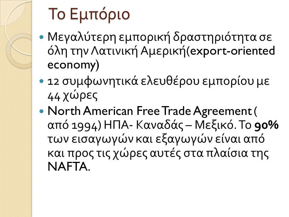 Το Εμπόριο Μεγαλύτερη εμπορική δραστηριότητα σε όλη την Λατινική Αμερική (export-oriented economy) 12 συμφωνητικά ελευθέρου εμπορίου με 44 χώρες North