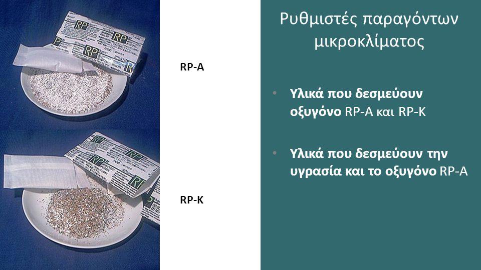 Ρυθμιστές παραγόντων μικροκλίματος Υλικά που δεσμεύουν οξυγόνο RP-A και RP-K Υλικά που δεσμεύουν την υγρασία και το οξυγόνο RP-A RP-K RP-A