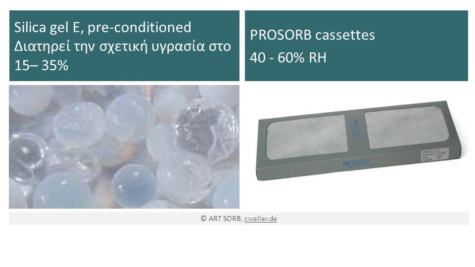 Silica gel E, pre-conditioned Διατηρεί την σχετική υγρασία στο 15– 35% PROSORB cassettes 40 - 60% RH © ART SORB, cwaller.decwaller.de