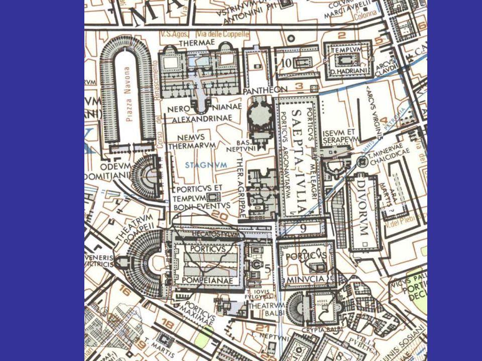 Τα κατάλοιπα της basilica Neptuni ακριβώς νότια του Πανθέου