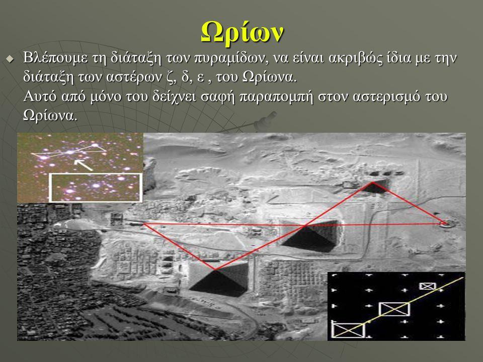 Ωρίων  Βλέπουμε τη διάταξη των πυραμίδων, να είναι ακριβώς ίδια με την διάταξη των αστέρων ζ, δ, ε, του Ωρίωνα. Αυτό από μόνο του δείχνει σαφή παραπο