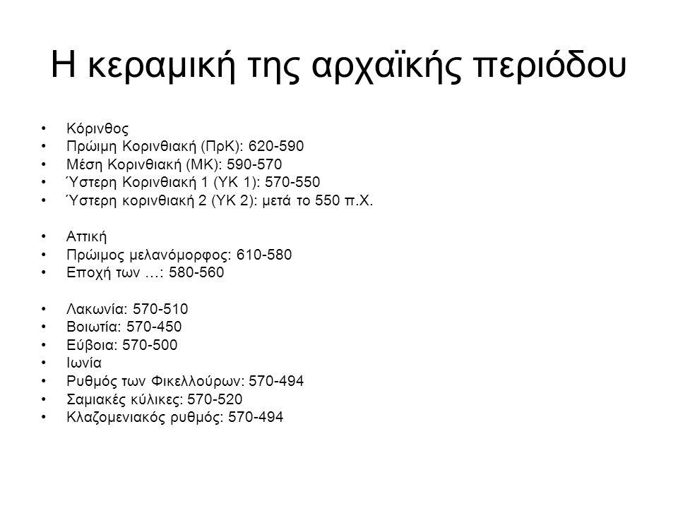 Η κεραμική της αρχαϊκής περιόδου Κόρινθος Πρώιμη Κορινθιακή (ΠρΚ): 620-590 Μέση Κορινθιακή (ΜΚ): 590-570 Ύστερη Κορινθιακή 1 (ΥΚ 1): 570-550 Ύστερη κορινθιακή 2 (ΥΚ 2): μετά το 550 π.Χ.