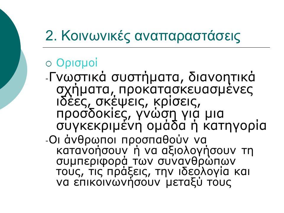 2. Κοινωνικές αναπαραστάσεις  Ορισμοί - Γνωστικά συστήματα, διανοητικά σχήματα, προκατασκευασμένες ιδέες, σκέψεις, κρίσεις, προσδοκίες, γνώση για μια