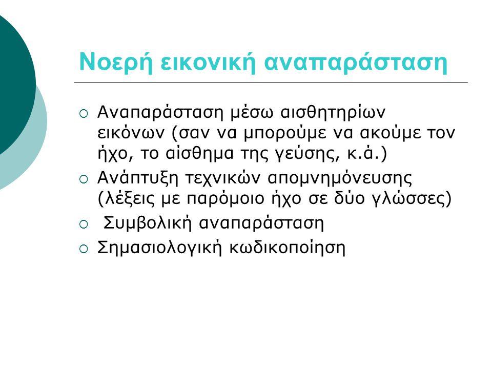 Το φαινόμενο Stroop  Οπτική και σημασιολογική πληροφορία (αναγνώριση του χρώματος-ονομασία του χρώματος)  Η ονομασία είναι διαφορετική διαδικασία από την απλή αναγνώριση