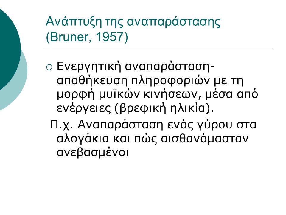 Ανάπτυξη της αναπαράστασης (Bruner, 1957)  Ενεργητική αναπαράσταση- αποθήκευση πληροφοριών με τη μορφή μυϊκών κινήσεων, μέσα από ενέργειες (βρεφική η