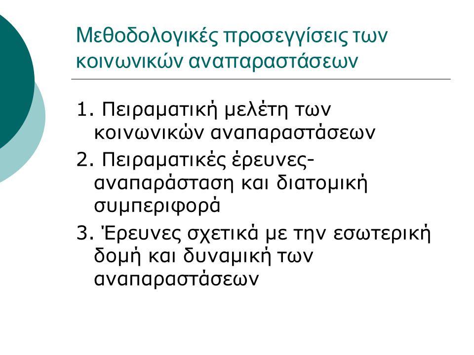 Μεθοδολογικές προσεγγίσεις των κοινωνικών αναπαραστάσεων 1. Πειραματική μελέτη των κοινωνικών αναπαραστάσεων 2. Πειραματικές έρευνες- αναπαράσταση και