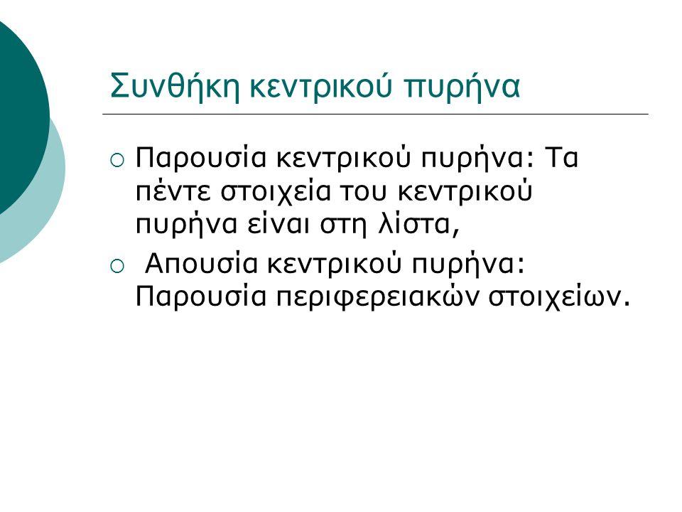 Συνθήκη κεντρικού πυρήνα  Παρουσία κεντρικού πυρήνα: Τα πέντε στοιχεία του κεντρικού πυρήνα είναι στη λίστα,  Απουσία κεντρικού πυρήνα: Παρουσία περιφερειακών στοιχείων.