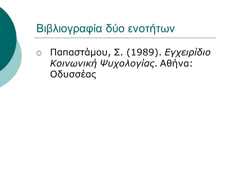 Βιβλιογραφία δύο ενοτήτων  Παπαστάμου, Σ. (1989). Εγχειρίδιο Κοινωνική Ψυχολογίας. Αθήνα: Οδυσσέας