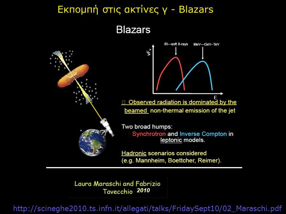 http://scineghe2010.ts.infn.it/allegati/talks/FridaySept10/02_Maraschi.pdf 2010 Εκπομπή στις ακτίνες γ - Blazars