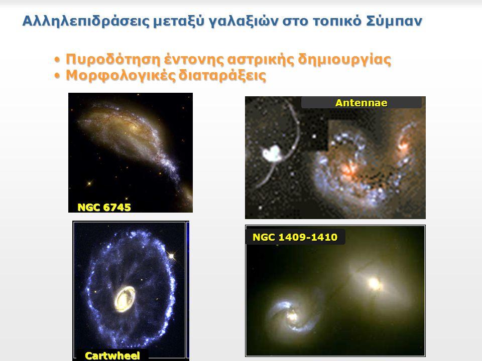 Αλληλεπιδράσεις μεταξύ γαλαξιών στο τοπικό Σύμπαν NGC 6745 Antennae NGC 1409-1410 Cartwheel Πυροδότηση έντονης αστρικής δημιουργίας Πυροδότηση έντονης αστρικής δημιουργίας Μορφολογικές διαταράξεις Μορφολογικές διαταράξεις