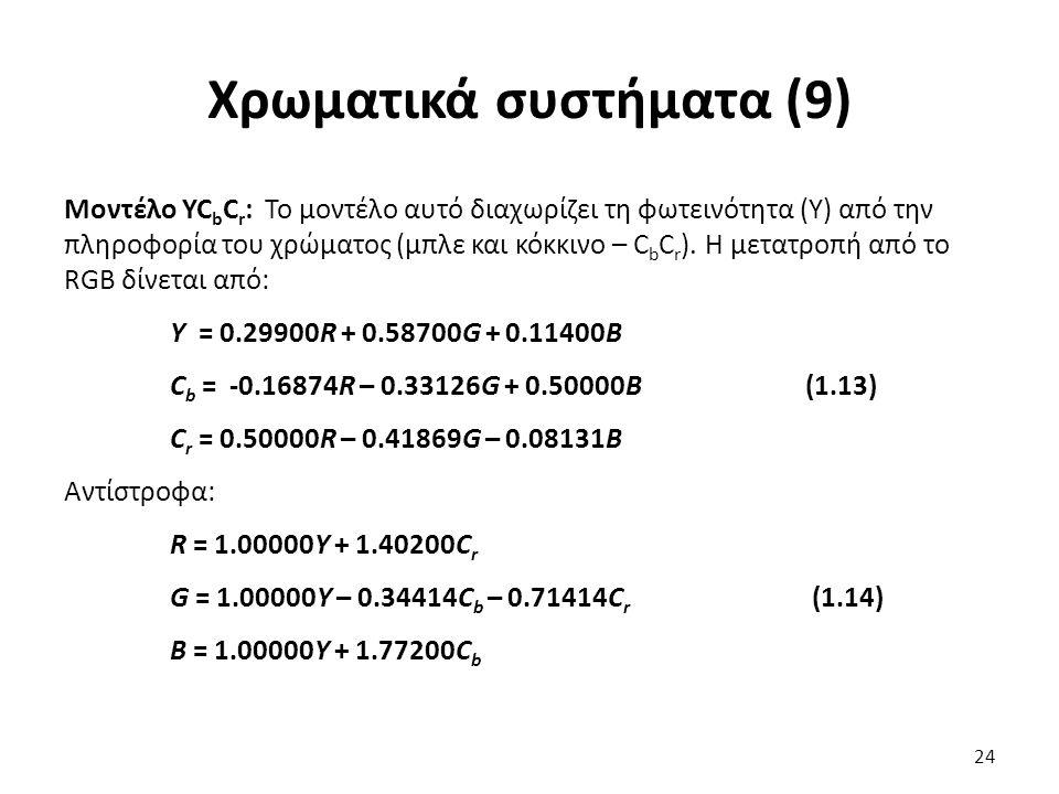 Χρωματικά συστήματα (9) Μοντέλο YC b C r : Το μοντέλο αυτό διαχωρίζει τη φωτεινότητα (Υ) από την πληροφορία του χρώματος (μπλε και κόκκινο – C b C r ).