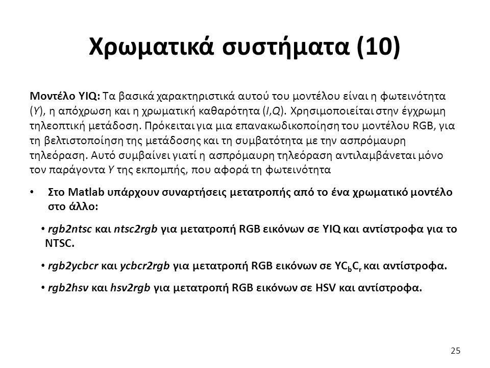 Χρωματικά συστήματα (10) Μοντέλο YIQ: Τα βασικά χαρακτηριστικά αυτού του μοντέλου είναι η φωτεινότητα (Υ), η απόχρωση και η χρωματική καθαρότητα (Ι,Q).
