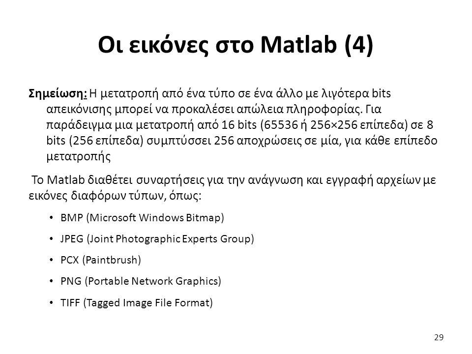 Οι εικόνες στο Matlab (4) Σημείωση: Η μετατροπή από ένα τύπο σε ένα άλλο με λιγότερα bits απεικόνισης μπορεί να προκαλέσει απώλεια πληροφορίας.