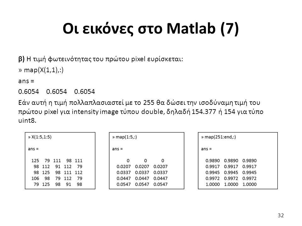 Οι εικόνες στο Matlab (7) β) Η τιμή φωτεινότητας του πρώτου pixel ευρίσκεται: » map(X(1,1),:) ans = 0.6054 0.6054 0.6054 Εάν αυτή η τιμή πολλαπλασιαστεί με το 255 θα δώσει την ισοδύναμη τιμή του πρώτου pixel για intensity image τύπου double, δηλαδή 154.377 ή 154 για τύπο uint8.