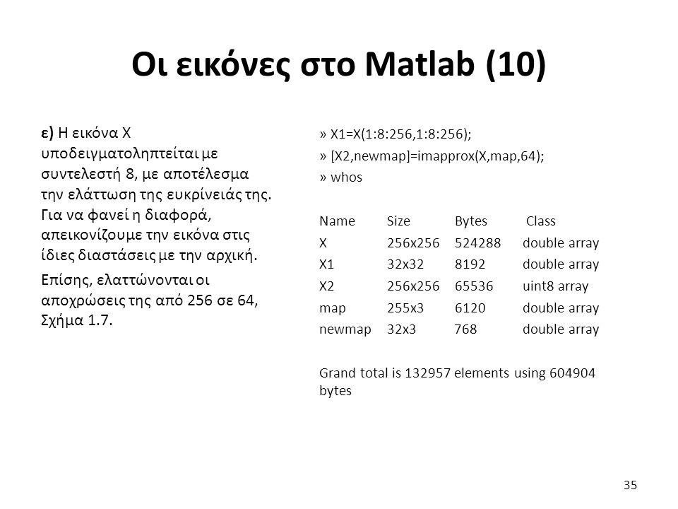 Οι εικόνες στο Matlab (10) ε) Η εικόνα Χ υποδειγματοληπτείται με συντελεστή 8, με αποτέλεσμα την ελάττωση της ευκρίνειάς της.