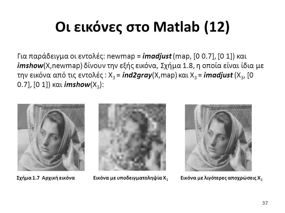 Οι εικόνες στο Matlab (12) Για παράδειγμα οι εντολές: newmap = imadjust (map, [0 0.7], [0 1]) και imshow(X,newmap) δίνουν την εξής εικόνα, Σχήμα 1.8, η οποία είναι ίδια με την εικόνα από τις εντολές : Χ 3 = ind2gray(X,map) και Χ 3 = imadjust (Χ 3, [0 0.7], [0 1]) και imshow(X 3 ): 37 Σχήμα 1.7 Αρχική εικόνα Εικόνα με υποδειγματοληψία Χ 1 Εικόνα με λιγότερες αποχρώσεις Χ 2