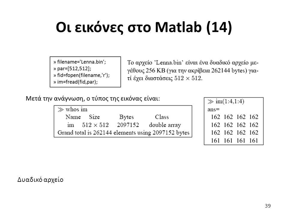Δυαδικό αρχείο Οι εικόνες στο Matlab (14) 39