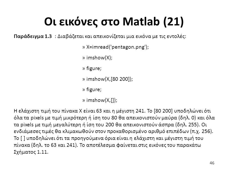 Οι εικόνες στο Matlab (21) Παράδειγμα 1.3 : Διαβάζεται και απεικονίζεται μια εικόνα με τις εντολές: » X=imread( pentagon.png ); » imshow(X); » figure; » imshow(X,[80 200]); » figure; » imshow(X,[]); Η ελάχιστη τιμή του πίνακα Χ είναι 63 και η μέγιστη 241.