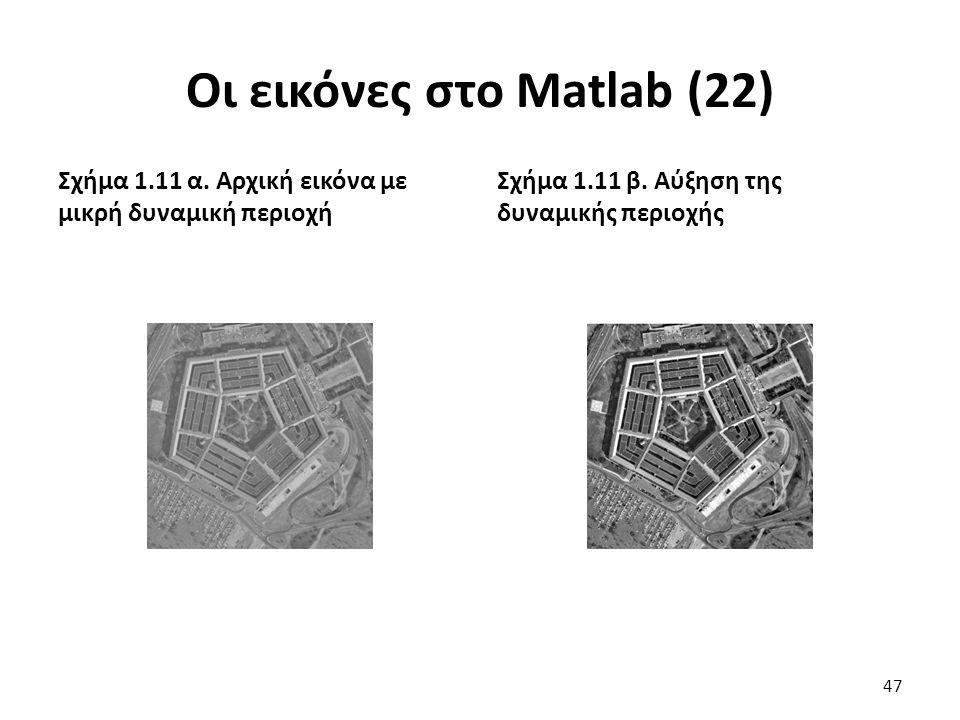 Οι εικόνες στο Matlab (22) Σχήμα 1.11 α.Αρχική εικόνα με μικρή δυναμική περιοχή Σχήμα 1.11 β.