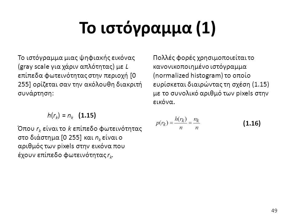 Το ιστόγραμμα (1) Το ιστόγραμμα μιας ψηφιακής εικόνας (gray scale για χάριν απλότητας) με L επίπεδα φωτεινότητας στην περιοχή [0 255] ορίζεται σαν την ακόλουθη διακριτή συνάρτηση: h(r k ) = n k (1.15) Όπου r k είναι το k επίπεδο φωτεινότητας στο διάστημα [0 255] και n k είναι ο αριθμός των pixels στην εικόνα που έχουν επίπεδο φωτεινότητας r k.