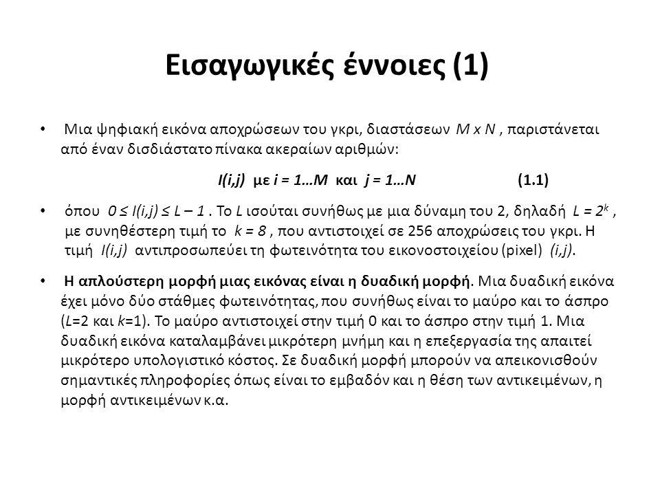 Εισαγωγικές έννοιες (1) Μια ψηφιακή εικόνα αποχρώσεων του γκρι, διαστάσεων Μ x Ν, παριστάνεται από έναν δισδιάστατο πίνακα ακεραίων αριθμών: I(i,j) με i = 1…Μ και j = 1…Ν (1.1) όπου 0 ≤ I(i,j) ≤ L – 1.