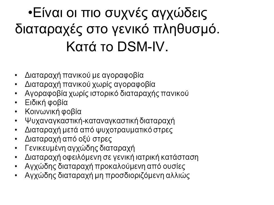 Είναι οι πιο συχνές αγχώδεις διαταραχές στο γενικό πληθυσμό. Κατά το DSM-IV. Διαταραχή πανικού με αγοραφοβία Διαταραχή πανικού χωρίς αγοραφοβία Αγοραφ
