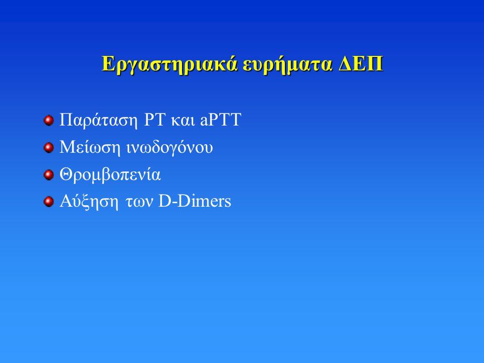 Εργαστηριακά ευρήματα ΔΕΠ Παράταση ΡΤ και aPTT Μείωση ινωδογόνου Θρομβοπενία Αύξηση των D-Dimers