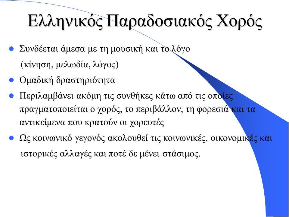 Ελληνικός Παραδοσιακός Χορός Συνδέεται άμεσα με τη μουσική και το λόγο (κίνηση, μελωδία, λόγος) Ομαδική δραστηριότητα Περιλαμβάνει ακόμη τις συνθήκες κάτω από τις οποίες πραγματοποιείται ο χορός, το περιβάλλον, τη φορεσιά και τα αντικείμενα που κρατούν οι χορευτές Ως κοινωνικό γεγονός ακολουθεί τις κοινωνικές, οικονομικές και ιστορικές αλλαγές και ποτέ δε μένει στάσιμος.