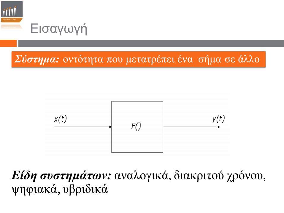 Σύστημα: οντότητα που μετατρέπει ένα σήμα σε άλλο Είδη συστημάτων: αναλογικά, διακριτού χρόνου, ψηφιακά, υβριδικά Εισαγωγή