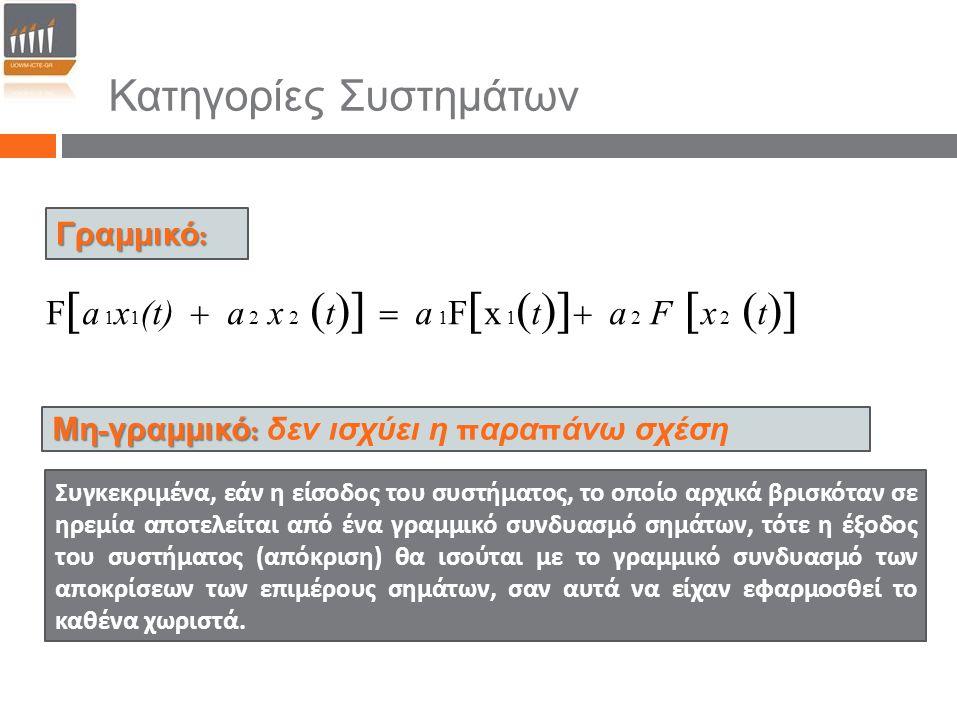 Κατηγορίες Συστημάτων Γραμμικό : Μη - γραμμικό : Μη - γραμμικό : δεν ισχύει η π αρα π άνω σχέση F  a 1 x 1 (t)  a 2 x 2  t    a 1 F  x 1  t 