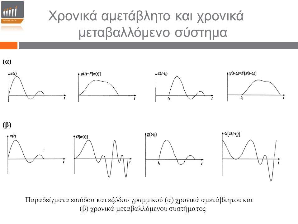 Χρονικά αμετάβλητο και χρονικά μεταβαλλόμενο σύστημα (α) (β) Παραδείγματα εισόδου και εξόδου γραμμικού (α) χρονικά αμετάβλητου και (β) χρονικά μεταβαλ