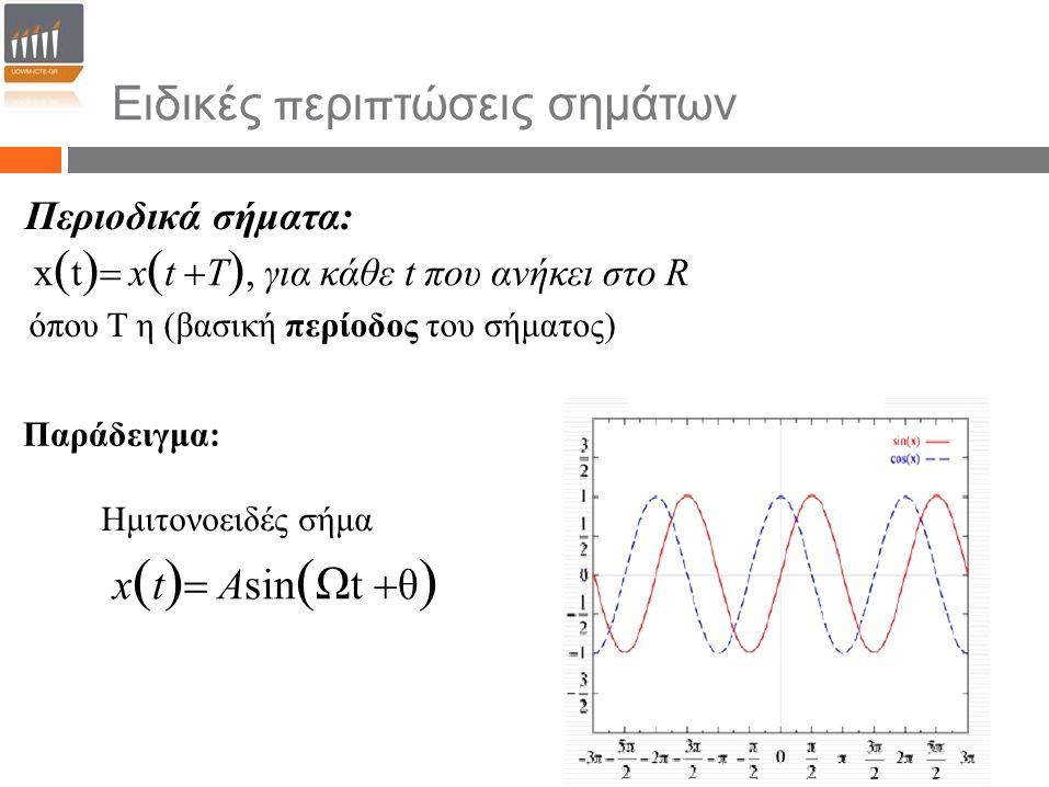 Ειδικές περιπτώσεις σημάτων Περιοδικά σήματα: όπου Τ η (βασική περίοδος του σήματος) Παράδειγμα: Ημιτονοειδές σήμα x  t   x  t  T , για κάθε t π