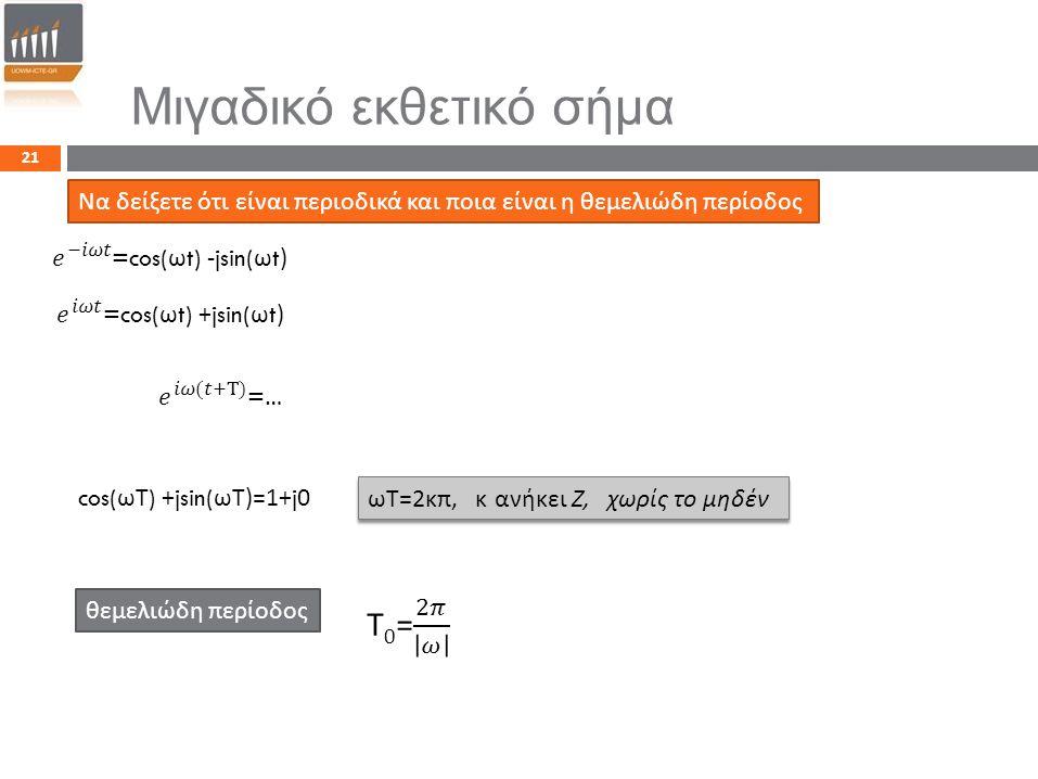 21 Μιγαδικό εκθετικό σήμα Να δείξετε ότι είναι π εριοδικά και π οια είναι η θεμελιώδη π ερίοδος θεμελιώδη π ερίοδος cos( ωΤ ) +jsin( ωΤ )=1+j0 ωΤ =2 κ