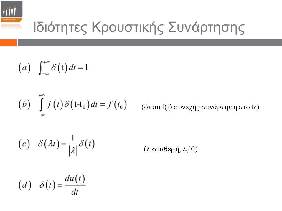 (όπου f(t) συνεχής συνάρτηση στο t 0 ) (λ σταθερή, λ≠0) Ιδιότητες Κρουστικής Συνάρτησης