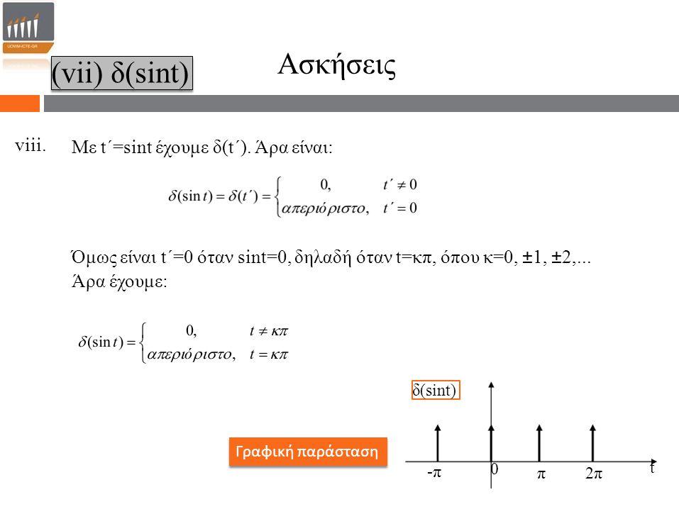 Ασκήσεις (vii) δ(sint) viii. Με t΄=sint έχουμε δ(t΄). Άρα είναι: Όμως είναι t΄=0 όταν sint=0, δηλαδή όταν t=κπ, όπου κ=0, ±1, ±2,... Άρα έχουμε: 0 t δ