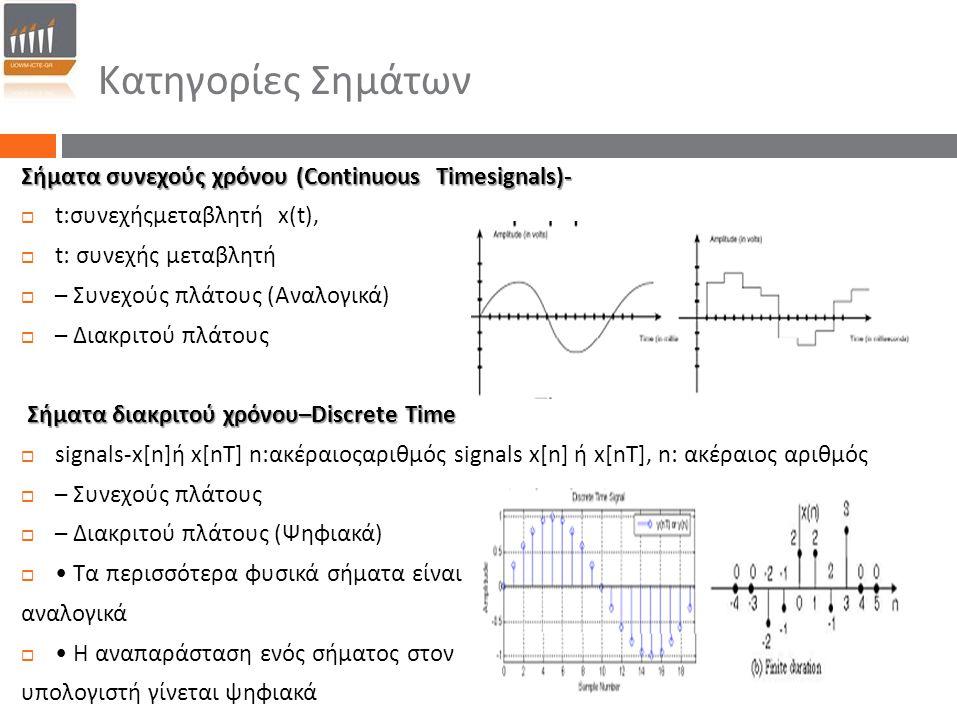 Κατηγορίες Σημάτων Σήματα συνεχούς χρόνου (Continuous Timesignals) ‐  t: συνεχήςμεταβλητή x(t),  t: συνεχής μεταβλητή  – Συνεχούς πλάτους ( Αναλογι