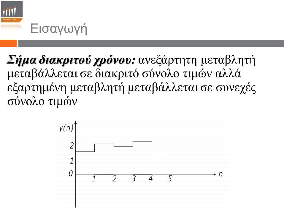 Εισαγωγή Σήμα διακριτού χρόνου: Σήμα διακριτού χρόνου: ανεξάρτητη μεταβλητή μεταβάλλεται σε διακριτό σύνολο τιμών αλλά εξαρτημένη μεταβλητή μεταβάλλετ