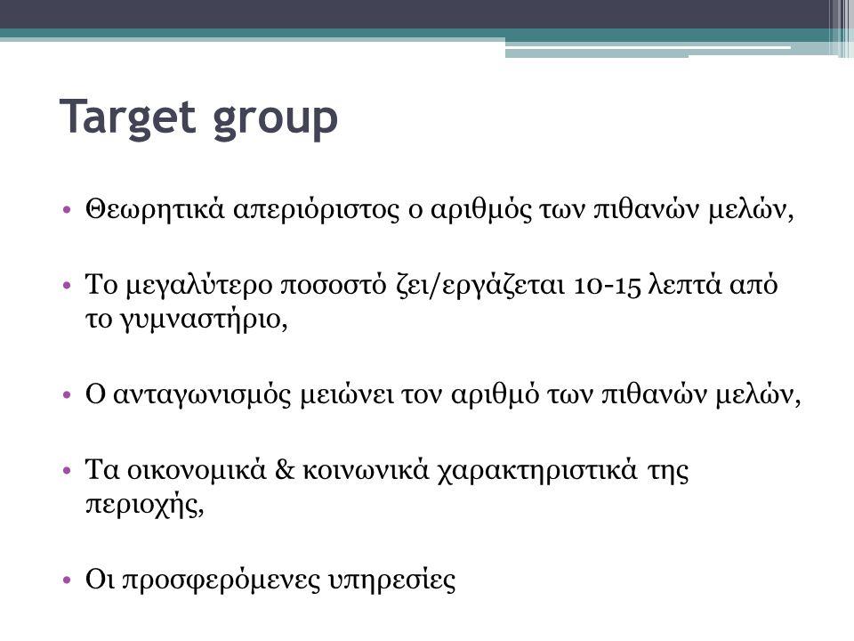 Target group Θεωρητικά απεριόριστος ο αριθμός των πιθανών μελών, Το μεγαλύτερο ποσοστό ζει/εργάζεται 10-15 λεπτά από το γυμναστήριο, Ο ανταγωνισμός με