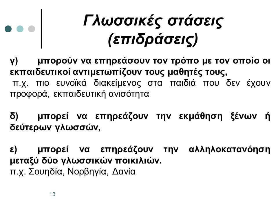 Γλωσσικές στάσεις (επιδράσεις) γ)μπορούν να επηρεάσουν τον τρόπο με τον οποίο οι εκπαιδευτικοί αντιμετωπίζουν τους μαθητές τους, π.χ.
