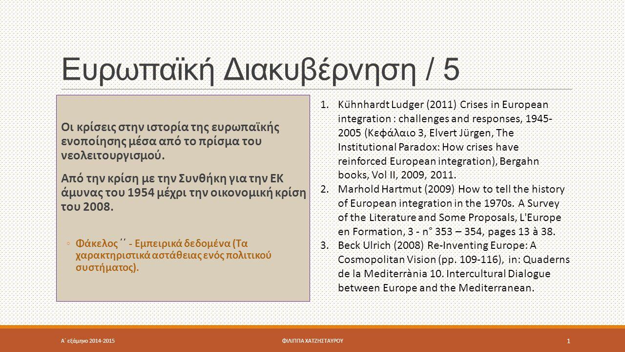 Ευρωπαϊκή Διακυβέρνηση / 5 Οι κρίσεις στην ιστορία της ευρωπαϊκής ενοποίησης μέσα από το πρίσμα του νεολειτουργισμού.