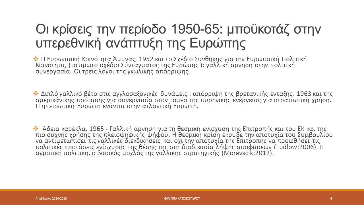 Οι κρίσεις την περίοδο 1950-65: μποϋκοτάζ στην υπερεθνική ανάπτυξη της Ευρώπης  Η Ευρωπαϊκή Κοινότητα Άμυνας, 1952 και το Σχέδιο Συνθήκης για την Ευρωπαϊκή Πολιτική Κοινότητα, (το πρώτο σχέδιο Σύνταγµατος της Ευρώπης ): γαλλική άρνηση στην πολιτική συνεργασία.