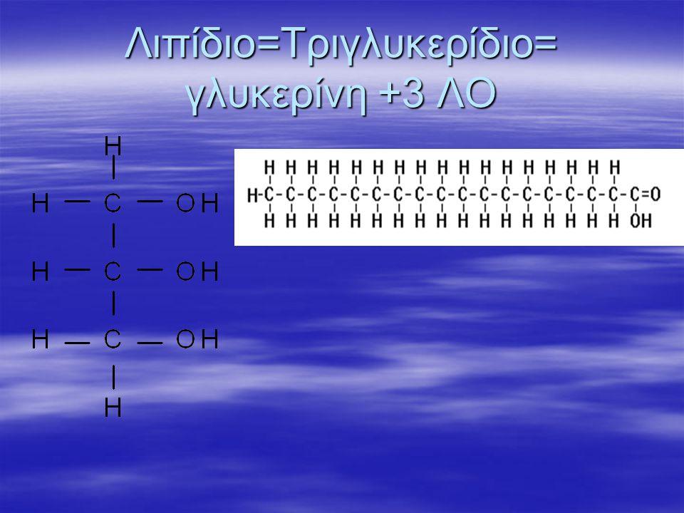 Λιπίδιο=Τριγλυκερίδιο= γλυκερίνη +3 ΛΟ