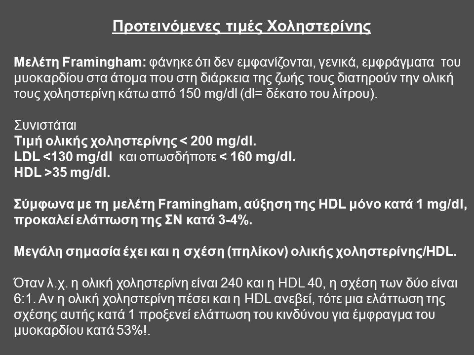 Προτεινόμενες τιμές Χοληστερίνης Mελέτη Framingham: φάνηκε ότι δεν εμφανίζονται, γενικά, εμφράγματα του μυοκαρδίου στα άτομα που στη διάρκεια της ζωής τους διατηρούν την ολική τους χοληστερίνη κάτω από 150 mg/dl (dl= δέκατο του λίτρου).