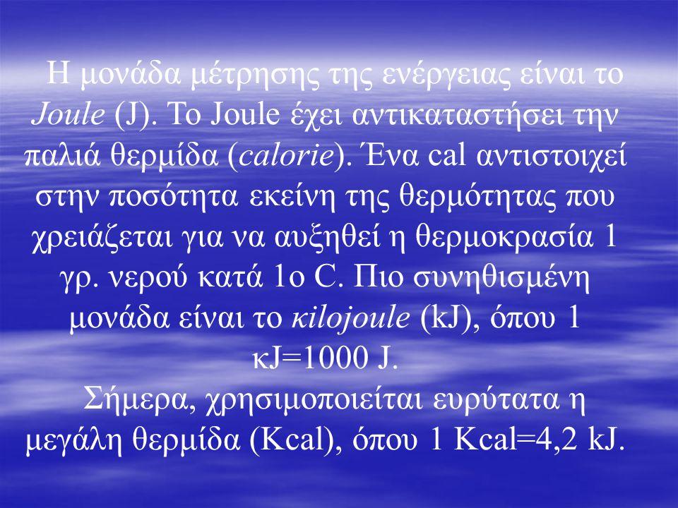 Η μονάδα μέτρησης της ενέργειας είναι το Joule (J). To Joule έχει αντικαταστήσει την παλιά θερμίδα (calorie). Ένα cal αντιστοιχεί στην ποσότητα εκείνη