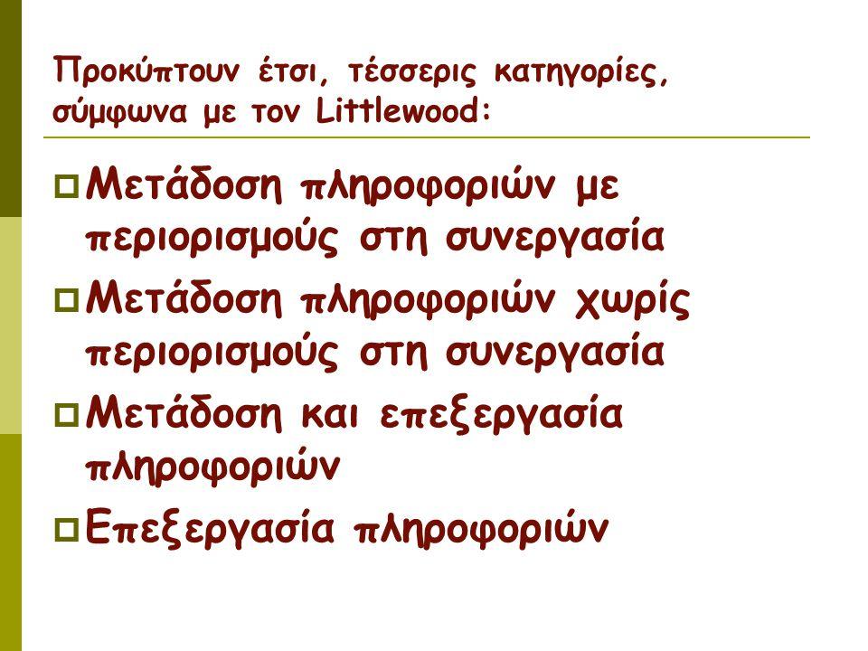 Προκύπτουν έτσι, τέσσερις κατηγορίες, σύμφωνα με τον Littlewood:  Μετάδοση πληροφοριών με περιορισμούς στη συνεργασία  Μετάδοση πληροφοριών χωρίς περιορισμούς στη συνεργασία  Μετάδοση και επεξεργασία πληροφοριών  Επεξεργασία πληροφοριών