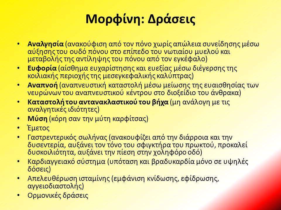 Μορφίνη: Δράσεις Αναλγησία (ανακούφιση από τον πόνο χωρίς απώλεια συνείδησης μέσω αύξησης του ουδό πόνου στο επίπεδο του νωτιαίου μυελού και μεταβολής
