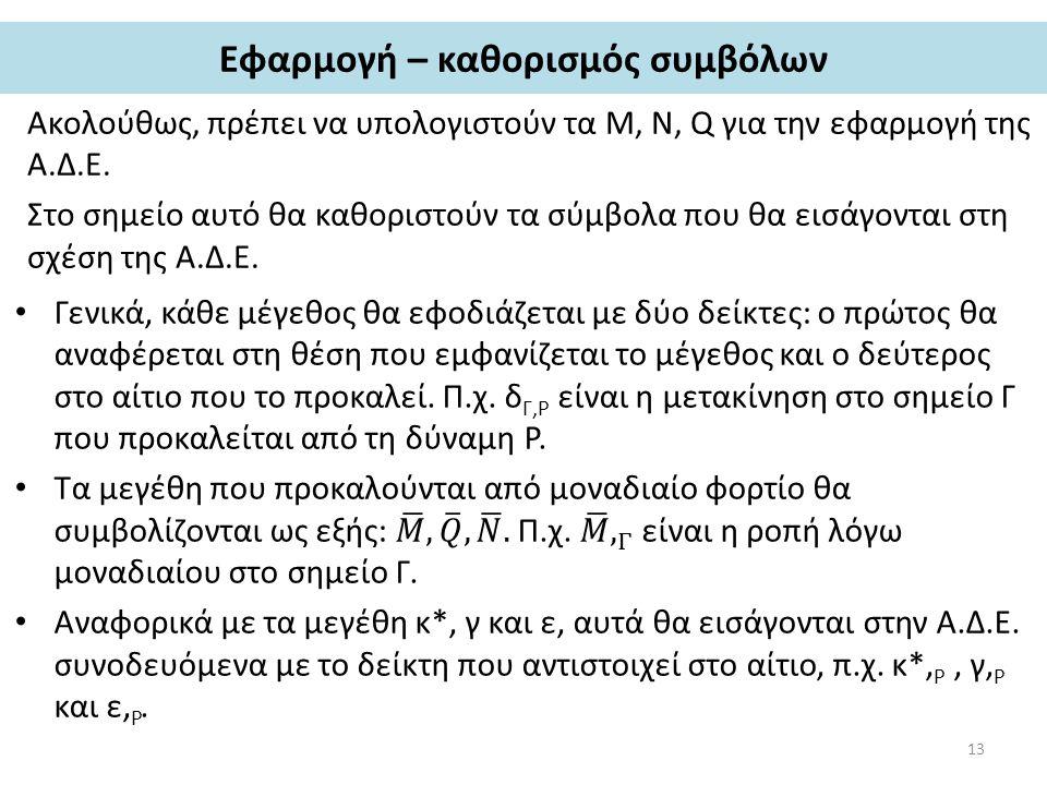 Εφαρμογή – καθορισμός συμβόλων Ακολούθως, πρέπει να υπολογιστούν τα Μ, Ν, Q για την εφαρμογή της Α.Δ.Ε.