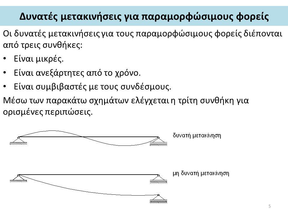 Δυνατές μετακινήσεις για παραμορφώσιμους φορείς Οι δυνατές μετακινήσεις για τους παραμορφώσιμους φορείς διέπονται από τρεις συνθήκες: Είναι μικρές.