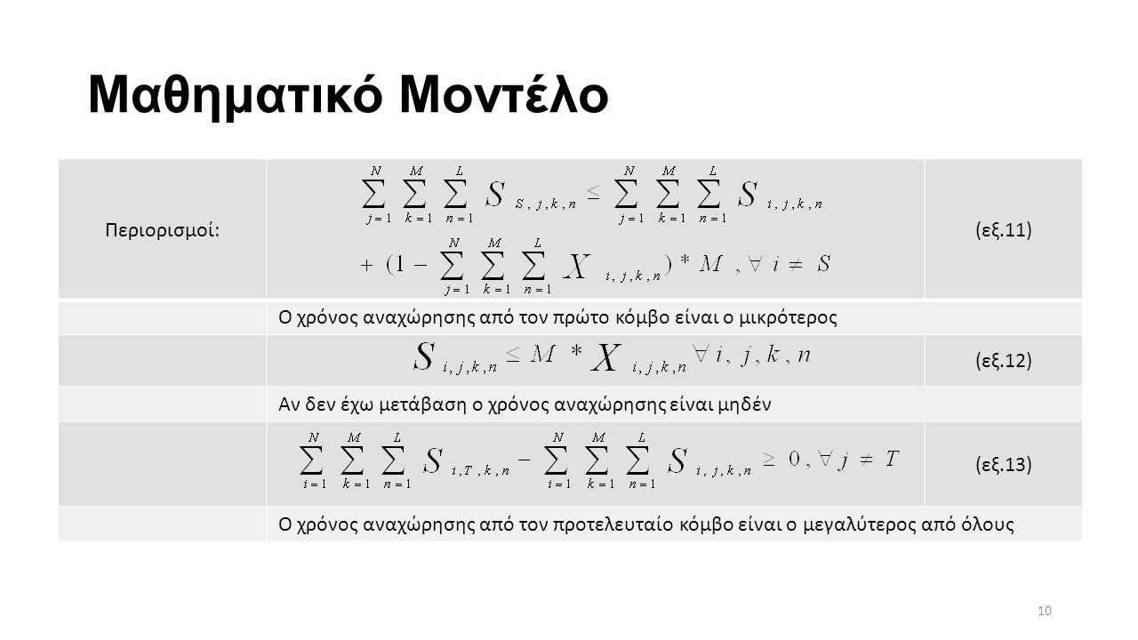 Μαθηματικό Μοντέλο Περιορισμοί:(εξ.11) Ο χρόνος αναχώρησης από τον πρώτο κόμβο είναι ο μικρότερος (εξ.12) Αν δεν έχω μετάβαση ο χρόνος αναχώρησης είναι μηδέν (εξ.13) Ο χρόνος αναχώρησης από τον προτελευταίο κόμβο είναι ο μεγαλύτερος από όλους 10