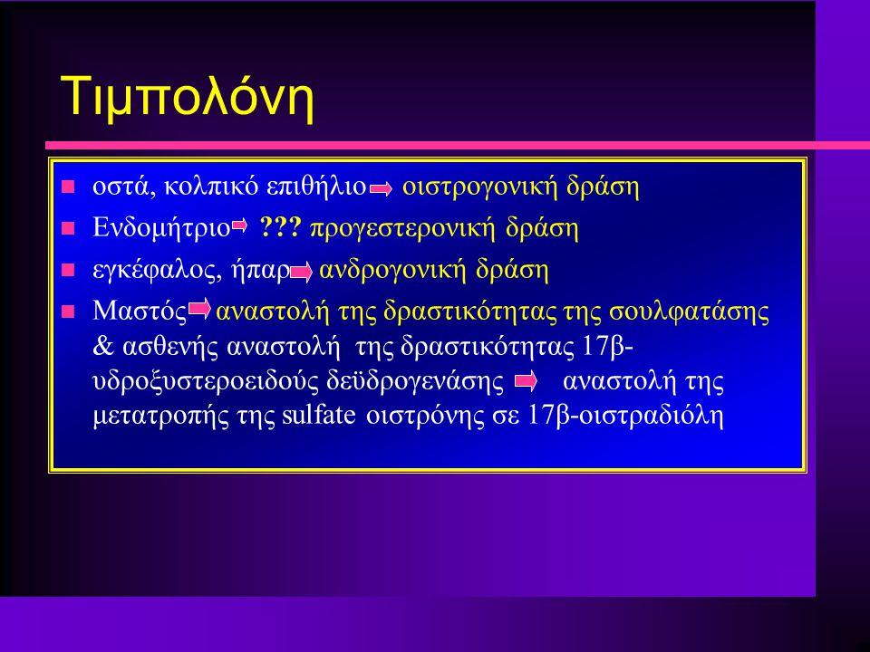 Τιμπολόνη n οστά, κολπικό επιθήλιο οιστρογονική δράση n Ενδομήτριο ??? προγεστερονική δράση n εγκέφαλος, ήπαρ ανδρογονική δράση n Μαστός αναστολή της